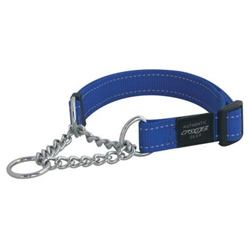 Rogz Utility Obedience Half Check Collar Blue Reflective