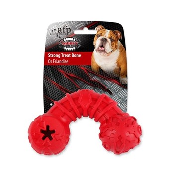 All For Paws Strong Rubber Dog Treat Bone (Red) - Packaged