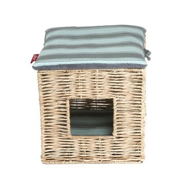 Wagworld Kitty Castle Bed (Square) - Blue Stripe