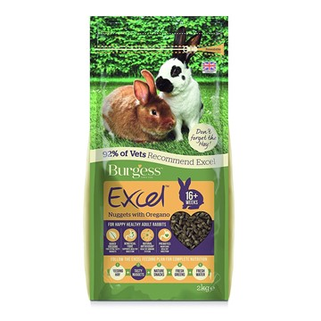 Burgess Rabbit Food - Excel Adult Nuggets with Oregano (2kg)