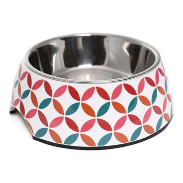 Olly & Max Decorative Melamine Pet Bowl (Red & Pink)