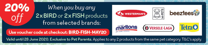 Buy 2 Fish or Bird products and SAVE 20%